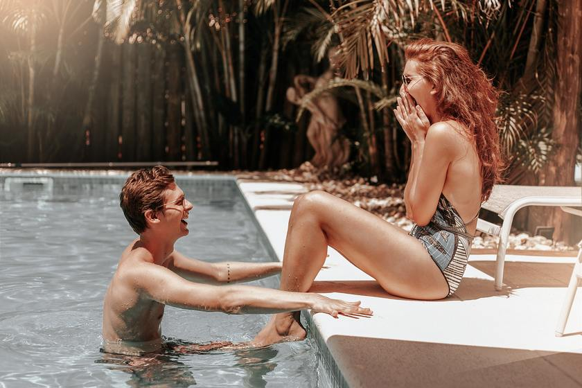 Image of a Sweet Couple in Swimming Pool